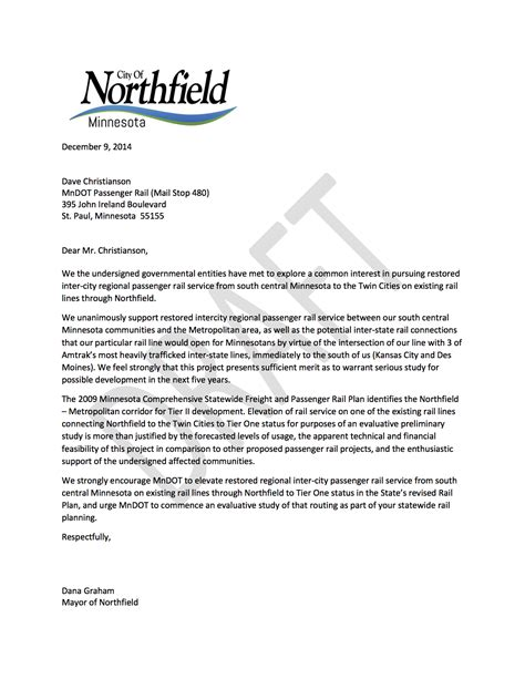 how to cc on a letter northfield cc letter tomndot draft copy small town big