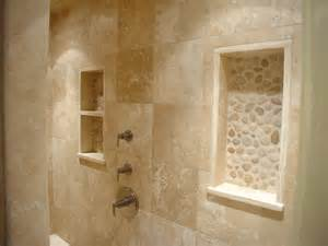 Travertine Bathroom Designs Travertine River Rock Shower