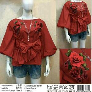 Baju Atasan Tali Kepang baju atasan wanita blouse bordir tali ikat modis model terbaru cantik modern