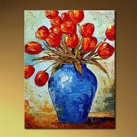 Flower Vase Painting Ideas by Painting Canvas Abstract Flower Thick Texture High