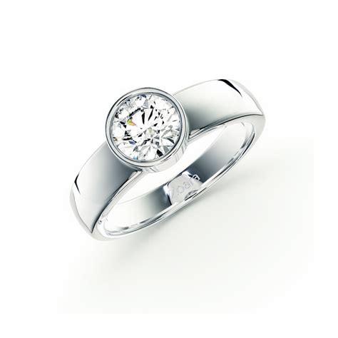 Bezel Set Engagement Rings by Bezel Set Engagement Ring In 14k White Gold
