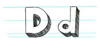 how to draw 3d letters d uppercase d and lowercase d in