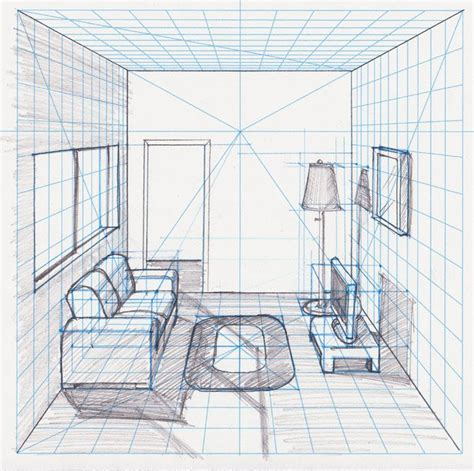 room  perspective withgrid drawing