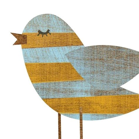 Yellow Blue Stripe Bird Collage Print 5 Quot X 7 Quot Feminine Art Bird Decor For Nursery