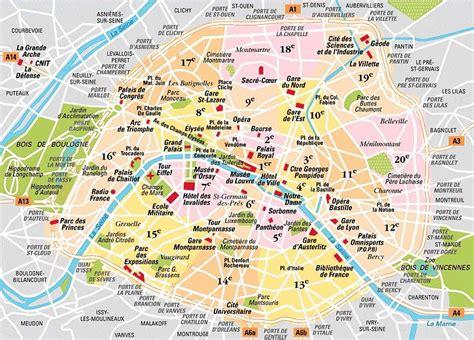sections of paris map of paris 20 boroughs arrondissements districts