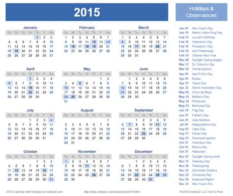 2015 calendar with holidays new calendar template site