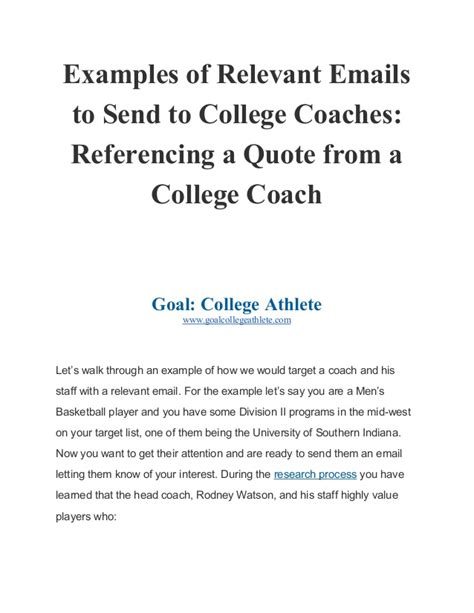 exle emails for college coaches reference a quote from a coach