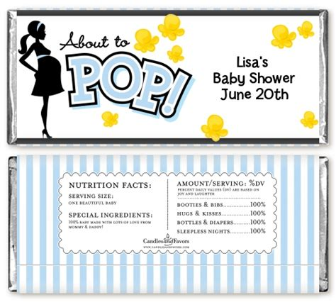 Bar Labels For Baby Shower by Ready To Pop Blue Baby Shower Bar Wrappers Candles