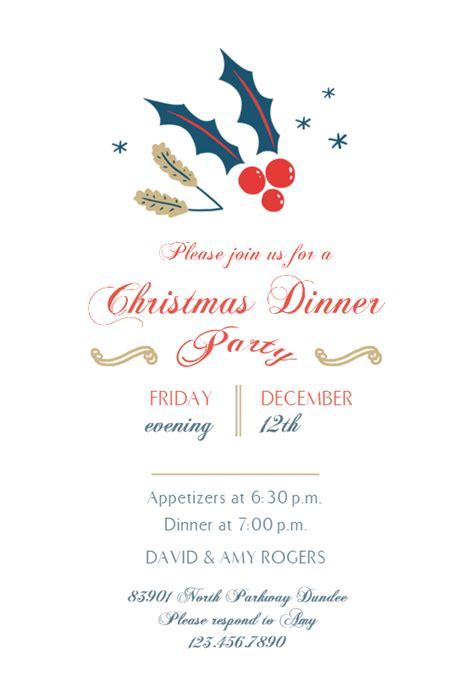 december dinner christmas invitation template
