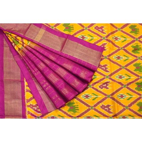 Cross Background Check Buy Pochally Ikat Silk Dupatta Yellow And Pink Cross Checks At Eyelasa