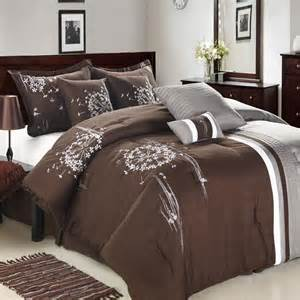 arabesque brown gray white 8 piece comforter bed in a