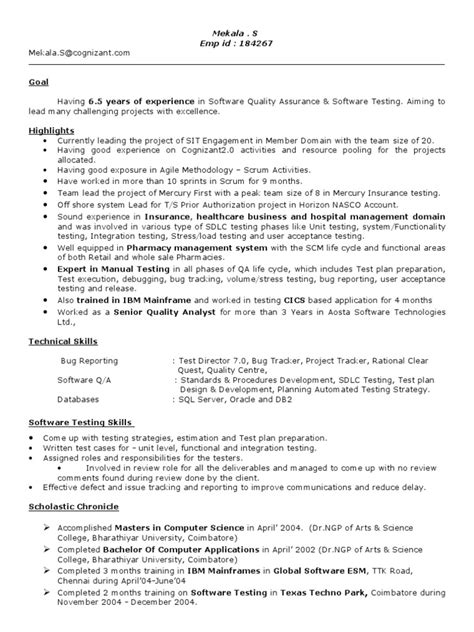 software testing resume 5 years experience 28 images
