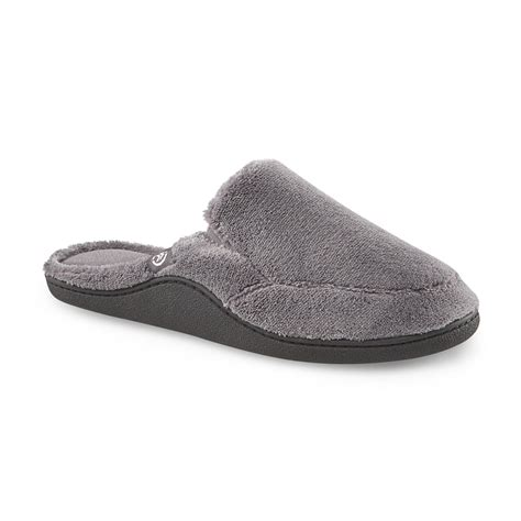 sears mens house slippers isotoner men s terry charcoal hoodback slipper clothing shoes jewelry shoes men s shoes