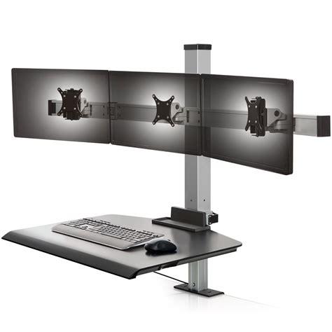 3 monitor standing desk innovative winston triple monitor sit stand workstation