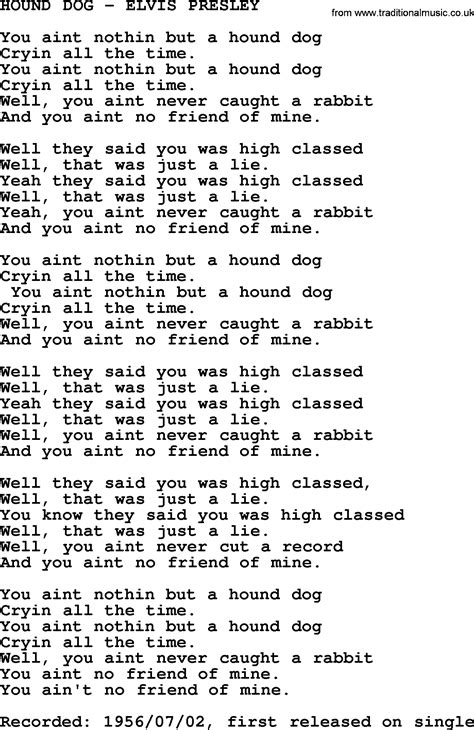 hound chords hound elvis txt by elvis lyrics and chords