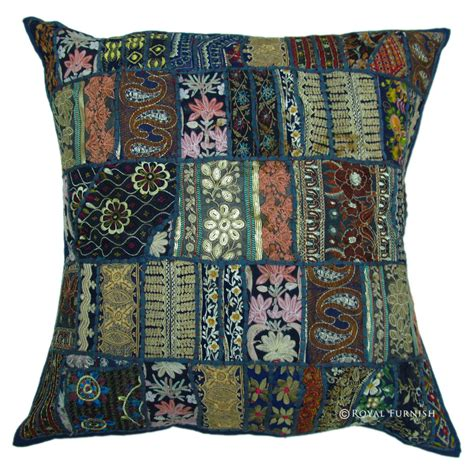 Blue Patchwork Throw - 24 inch oversized blue multi patchwork throw pillow