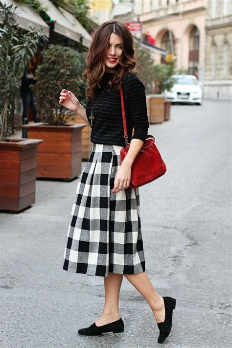 black and white pattern skirt outfit 25 ways to style plaid or checkered skirts 2018