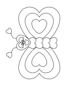 Butterfly with heart colouring pages