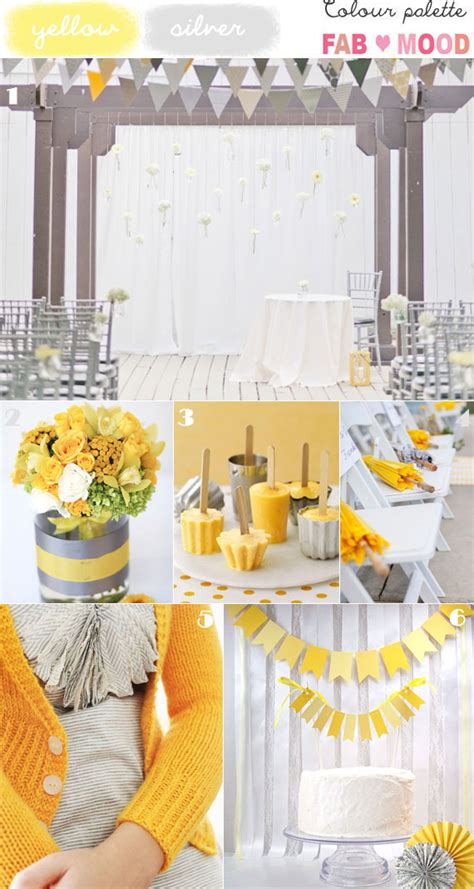 silver yellow wedding colors palette ideas