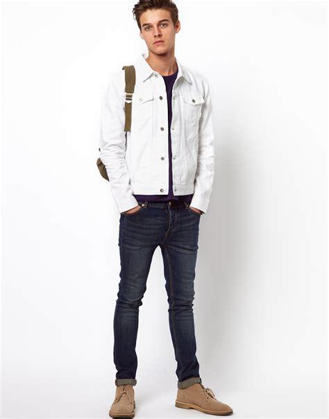 Jaket Denim White lyst asos denim jacket in white for
