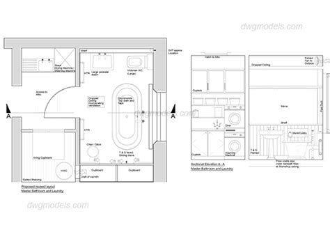 Bathroom Architectural Drawings Bathroom Plan And Elevation Dwg Free Cad Blocks Download