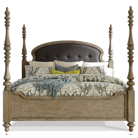 queen poster bed queen upholstered poster bed in sun drenched acacia finish