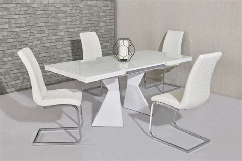 White Glass Gloss Dining Table 6 White Chairs Homegenies White Glass Dining Table And 6 Chairs