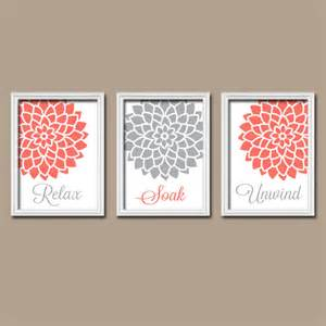 Coral Color Bathroom Decor Coral Gray Bathroom Wall Art Canvas Or Print Bathroom By