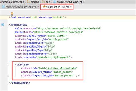 xml layout android tutorial daten mit einem listview anzeigen