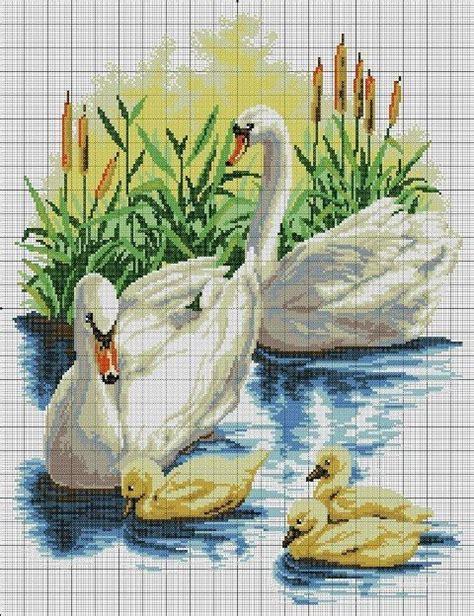 cuadros de cisnes cisnes en punto de counted cross stitch