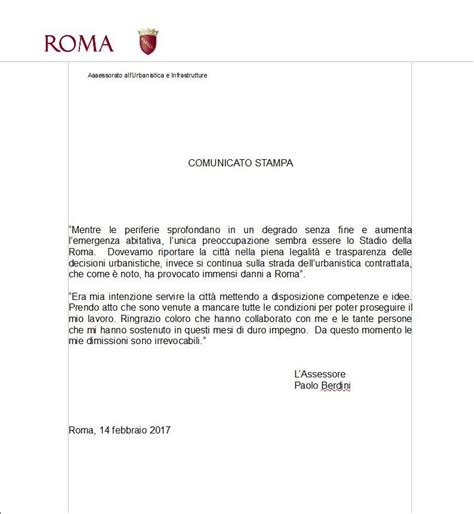 lettere dimissioni modello roma la lettera di dimissioni di berdini