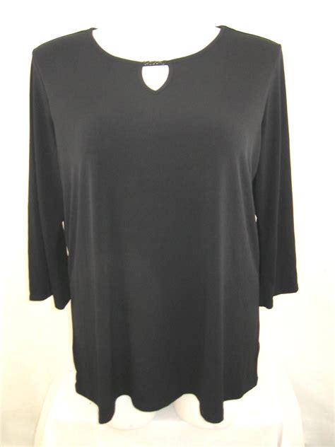 3 4 length sleeve knit tops susan graver plus size liquid knit 3 4 sleeve top with