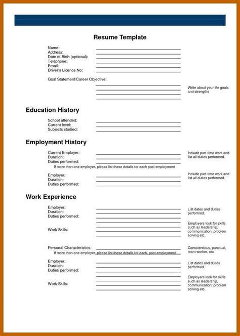 9 10 Blank Basic Resume Templates Cvideas Free Printable Fill In The Blank Resume Templates