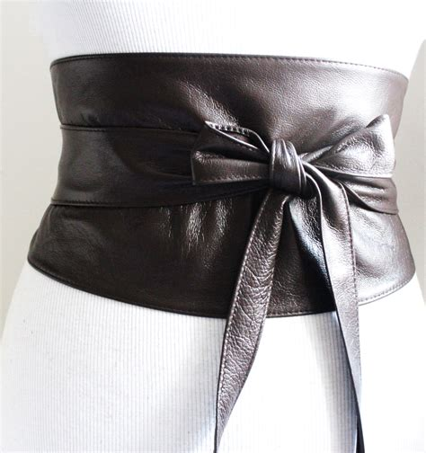 brown leather corset obi belt brown soft wide wrap