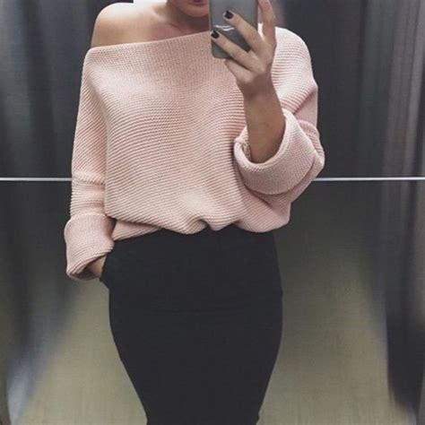 light pink oversized sweater sweater made fall winter pink blue