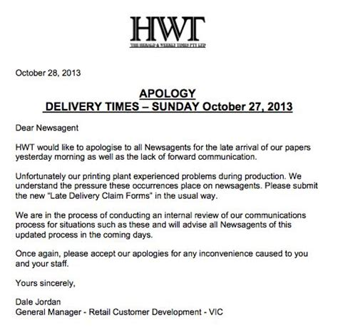 Apology Letter Late Delivery News Corp Apology To Newsagents Australian Newsagency