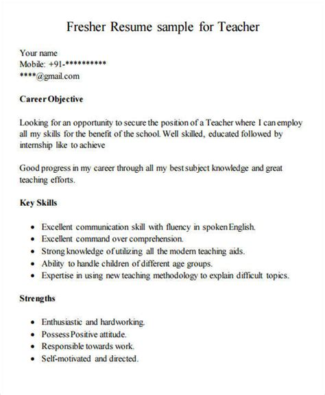 sle resume for primary school fresher 42 resume formats