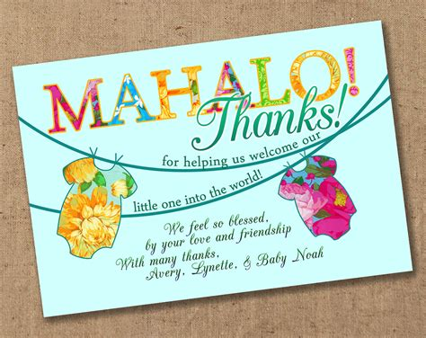 mahalo luau tropical baby shower thank you by