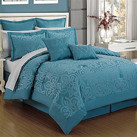 Turquoise King Bedding Sets Curtis Damask 12 Comforter Set In Turquoise Bed Bath Beyond