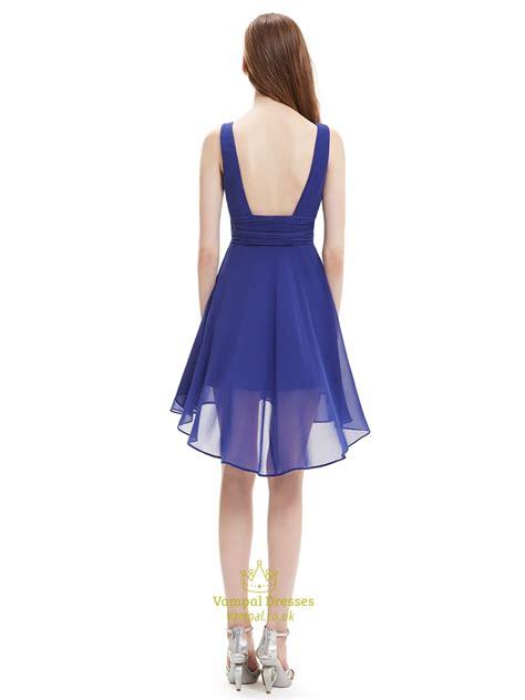 Bridesmaid Dresses Asymmetrical Hem - royal blue v neck asymmetrical hem chiffon