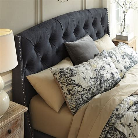 gray fabric headboard ashley kasidon fabric upholstered queen tufted headboard