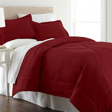 Micro Flannel Wine Full Queen 4 Piece Comforter Set