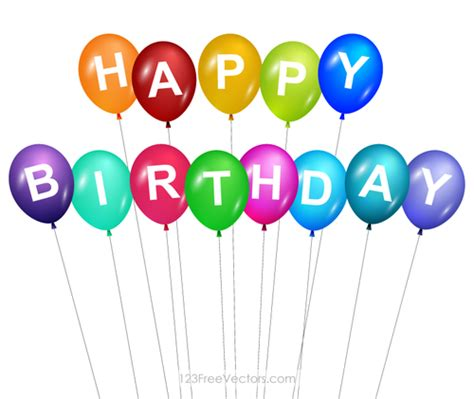 Balon Ulang Tahun Happy Birthday selamat ulang tahun dengan balon warna warni domain publik vektor