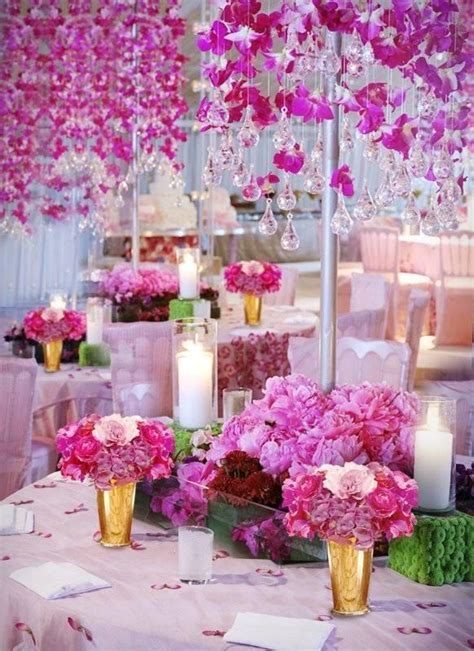 Wedding Decor Glass Flower by Hanging Pink Flowers And Chandelier Glass Droplets Pink