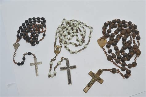 rosary dublin 3 antique bead rosary crucifixes milk glass with copper