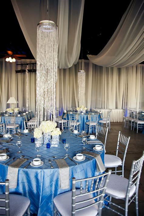 silver and blue decorations wedding with blue silver ivory wedding
