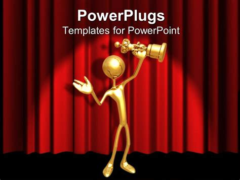 powerpoint template gold 3d figure holding gold award