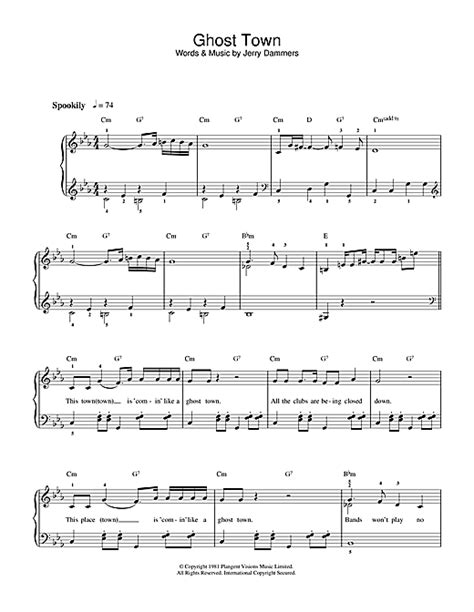 The Specials - Ghost Town sheet music