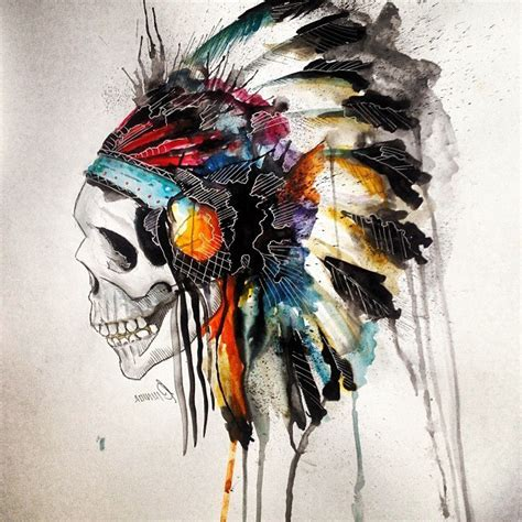 aquarelle indian skull tattoo best tattoo ideas gallery