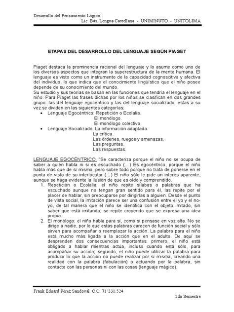 ETAPAS DEL DESARROLLO DEL LENGUAJE SEGÚN PIAGET